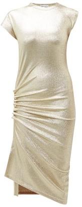 Paco Rabanne Asymmetric Ruched Metallic-effect Midi Dress - Womens - Silver Gold