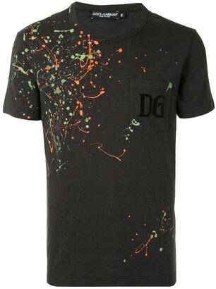 Dolce & Gabbana paint-splatter crew-neck T-shirt
