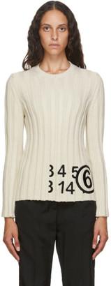 MM6 MAISON MARGIELA Off-White Knit Logo Sweater