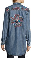 Tolani Tina Embroidered-Back Button-Front Shirt