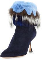 Manolo Blahnik Remola Fur-Trim Suede Bootie, Navy Blue