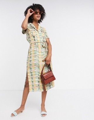 Glamorous midi button front dress with tie waist in pastel check