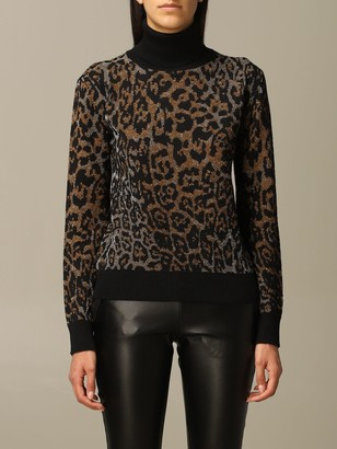 Just Cavalli Sweater Pullover In Lurex Animalier Wool Blend