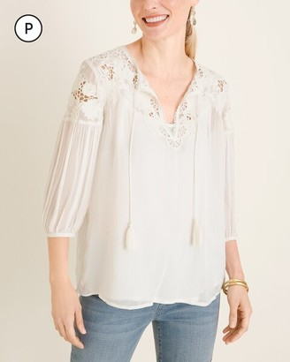 Chico's Petite Beaded Peasant Blouse