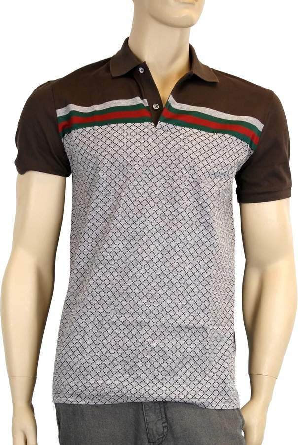 Gucci Men's Cotton Polo GRG Web Top Diamante Shirt 251623 2479