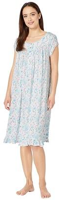Eileen West Modal Spandex Jersey Knit Cap Sleeve Waltz Nightgown (White Ground/Multi Floral) Women's Pajama