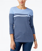 Karen Scott Petite Striped Top, Only at Macy's