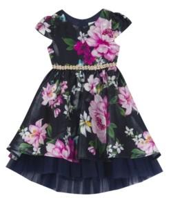 Rare Editions Toddler Girl Printed Mikado Illusion Dress