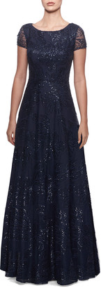 La Femme Sequin Floral Bateau-Neck Cap-Sleeve A-Line Gown