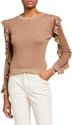 Joie Beza Shimmered-Knit Sweater with Ruffle Sleeves