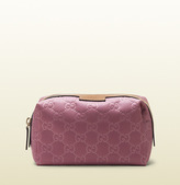 Gucci Dark Pink Nylon Guccissima Cosmetic Case