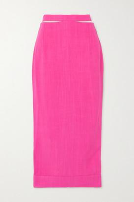 Jacquemus Valerie Cutout Woven Midi Skirt - Fuchsia