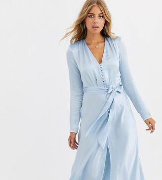Ghost exclusive Meryl satin tie front midi dress-Blue