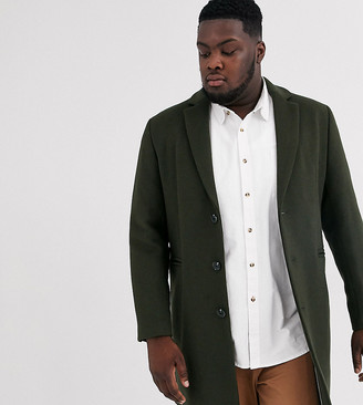 ASOS DESIGN Plus wool mix overcoat in khaki