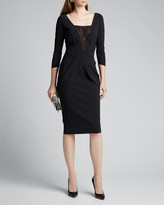 Chiara Boni Long-Sleeve V-Neck Dress w/ Inset Illusion