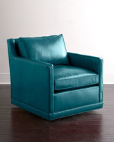 Horchow Nina St. Clair Peacock Blue Leather Swivel Chair