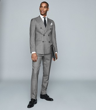 Reiss Tijuana - Pinstripe Wool Blazer in Grey