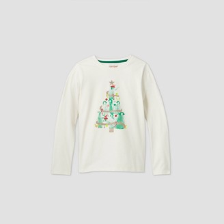 Cat & Jack Girls' Long Sleeve Penguin Christmas Tree Graphic T-Shirt - Cat & JackTM