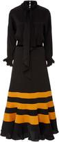 Johanna Ortiz Scarf-Detailed Striped Satin Midi Dress