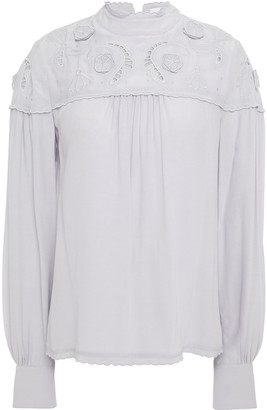See by Chloe Broderie Anglaise-trimmed Crepe De Chine Blouse