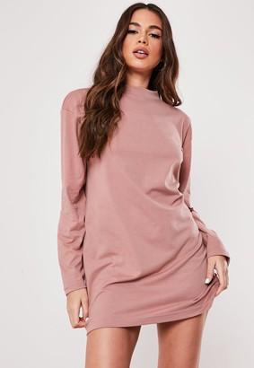 Missguided Rose Basic Long Sleeve T Shirt Dress