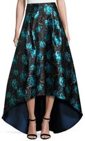 Sachin + Babi Floral Jacquard High-Low Ball Skirt, Blue Topaz