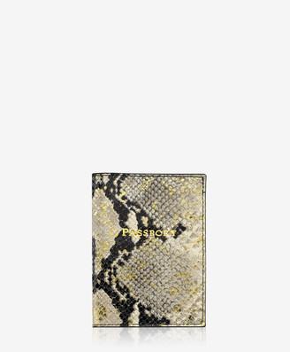 GiGi New York Passport Holder, Gold Wash Embossed Python Leather
