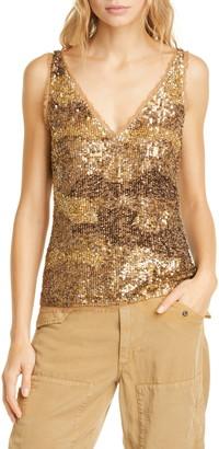 Polo Ralph Lauren Gold Sequin & Tulle Tank Top