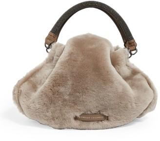 Brunello Cucinelli Shearling Top-Handle Hobo Bag