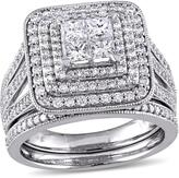Julie Leah 1 1/2 CT TW Princess-Cut Diamond 14K White Gold Halo Bridal Set