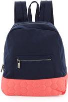Neiman Marcus Honeycomb Colorblock Neoprene Backpack, Navy/Coral