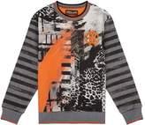 Roberto Cavalli Graffiti Printed Logo Sweatshirt, Grey, 7 Years