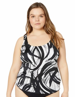 Maxine Of Hollywood Women's Plus-Size Scoop Neck Side Tie Tankini Swim Dress One Piece Swimsuit