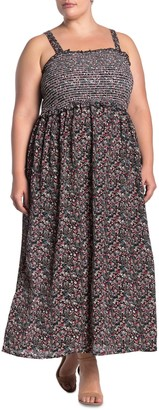 Angie Ditsy Floral Smocked Sleeveless Maxi Dress (Plus Size)