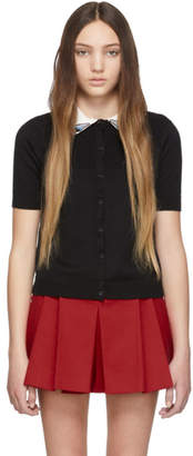 RED Valentino Black Swallow Patch Cardigan