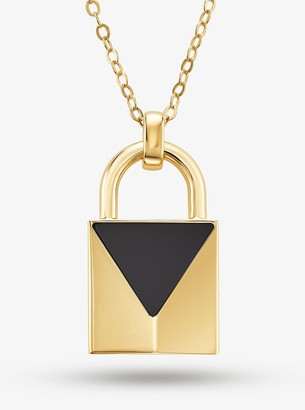 Michael Kors 14K Gold-Plated Sterling Silver Onyx Large Lock Necklace