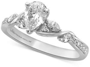 Monique Lhuillier Bliss Diamond Pear Center Engagement Ring (3/4 ct. t.w.) in 14k White Gold