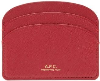 A.P.C. Half Moon Saffiano-leather Cardholder - Dark Red