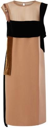 Burberry Strap Detail Panelled Silk And Velvet Dress