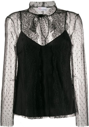 RED Valentino point d'esprit sleeves tulle blouse