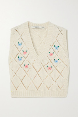 Alessandra Rich Embroidered Pointelle-knit Alpaca-blend Vest - Ivory