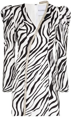 Halpern Crystal-Trim Zebra-Print Mini Dress