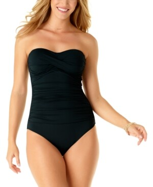 Anne Cole Twist-Front Ruched One-Piece Swimsuit Women's Swimsuit