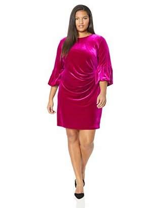 Jessica Howard Plus Size Womens Bell Sleeve Side Tuck Sheath Dress