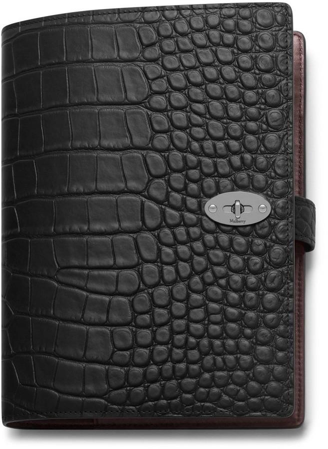 Mulberry Postman's Lock Notebook Cover Black Bovine