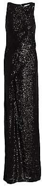 Rachel Gilbert Women's Sequin Sleeveless Twist Front Column Gown