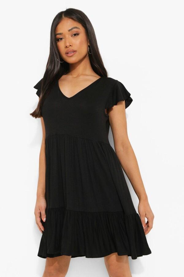 boohoo Petite Ruffle Sleeve V Neck Smock Dress