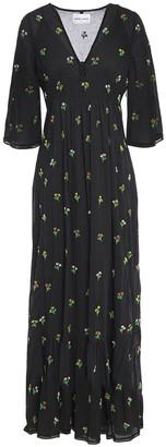 Antik Batik Bead-embellished Gathered Cotton Maxi Dress