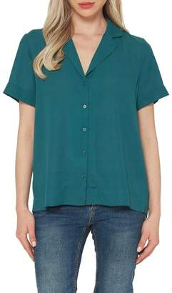 Pleione Solid Button Front Camp Shirt (Petite)