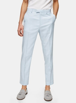 Topman Light Blue Slim Fit Suit Trousers
